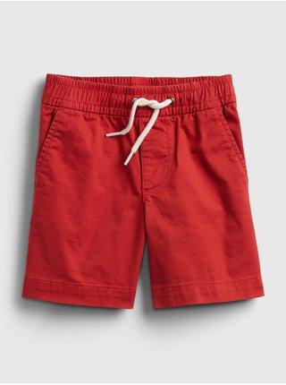 Červené klučičí dětské kraťasy poplin pull-on shorts