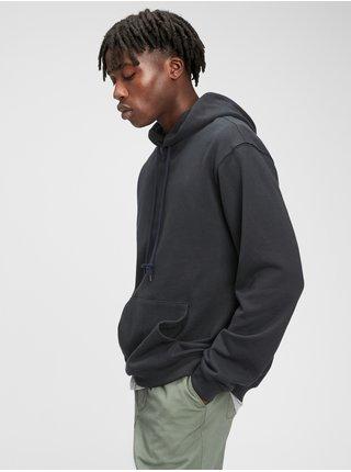 Mikina french terry hoodie Čierna