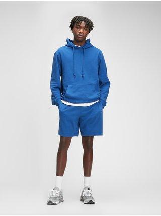 Mikina french terry hoodie Modrá