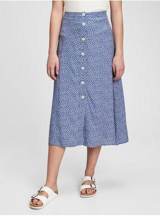 Sukňa button-front midi skirt Modrá