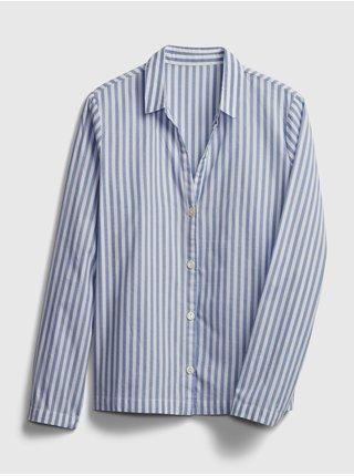 Modrá dámská košile na spaní pajama in poplin