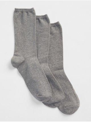 Šedé dámské ponožky basic crew socks, 3 páry