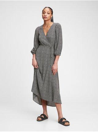 Šaty flounce midi wrap dress Čierna