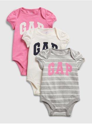 Baby body GAP Logo bodysuit, 3ks Farebná
