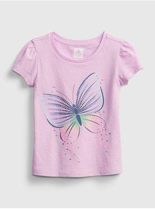 Detské tričko organic mix and match graphic t-shirt Ružová