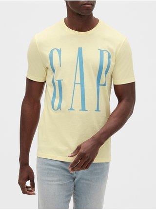 Žluté pánské tričko GAP Logo v-ss corp