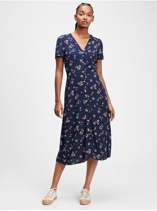 Modré dámské šaty v-ss midi btn frnt dress