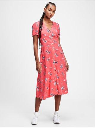 Růžové dámské šaty v-ss midi btn frnt dress