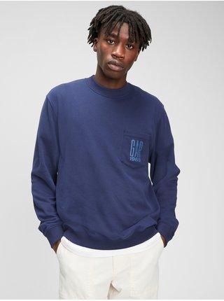 Mikina GAP Logo pocket crewneck sweatshirt Modrá