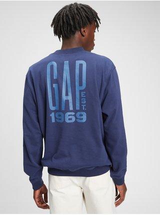 Modrá pánská mikina GAP Logo fl ov pkt crew