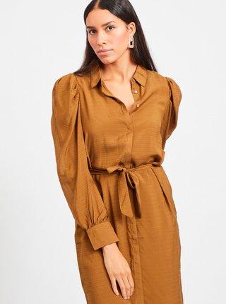 Hnedé košeľové šaty VILA Mylta