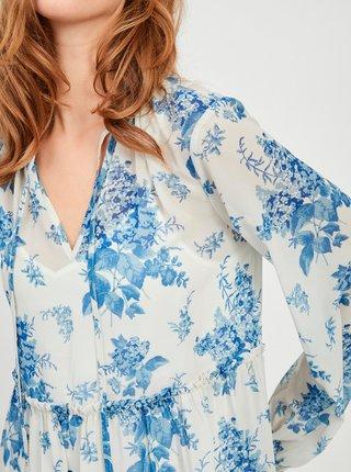 Modro-biele kvetované voľné šaty VILA Tullan