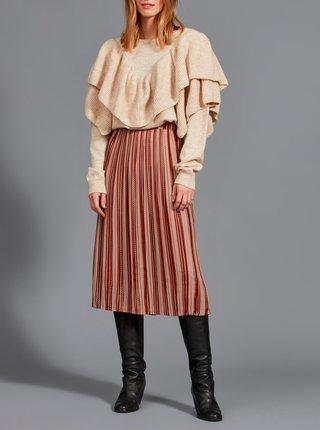 Hnedá vzorovaná plisovaná sukňa VILA Sarla