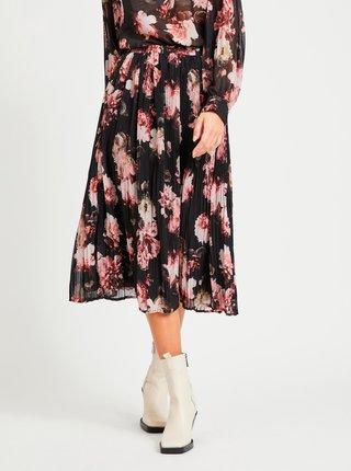Černá květovaná plisovaná sukně VILA Taffy
