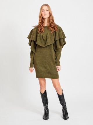 Kaki svetrové šaty s volánmi VILA Kemina