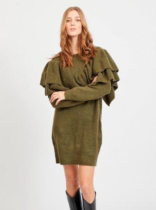 Khaki svetrové šaty s volány VILA Kemina