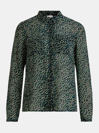 Zeleno-černá vzorovaná košile VILA Nema