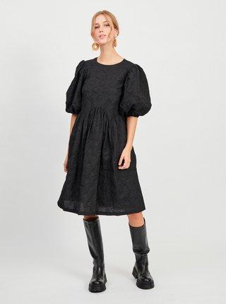 Černé volné šaty s balonovými rukávy VILA Ula