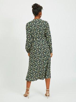 Zeleno-čierne kvetované midišaty VILA Timia