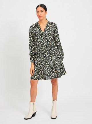 Čierne kvetované voľné šaty VILA Timia