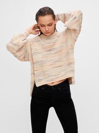 Béžový žíhaný voľný sveter .OBJECT Brigitte