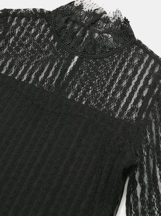 Čierna krajková blúzka so stojáčikom VILA