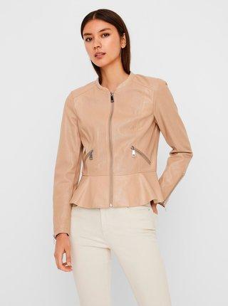 Béžová koženková bunda VERO MODA