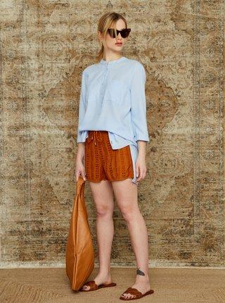 Světle modrá dámská pruhovaná dlouhá košile ZOOT Baseline Heda