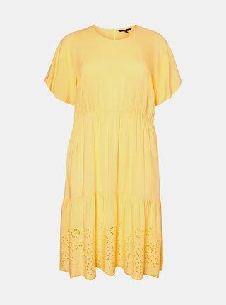 Žluté šaty s madeirou VERO MODA CURVE Isat