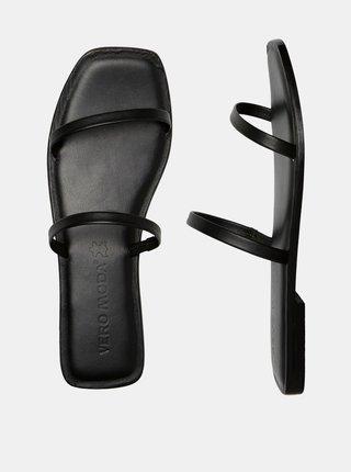 Černé kožené pantofle VERO MODA Dea
