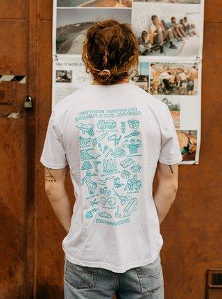 Biele pánske tričko DOBRO. Skate World Better