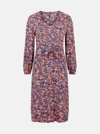 Růžovo-modré květované šaty se zavazováním Pieces Lubbie