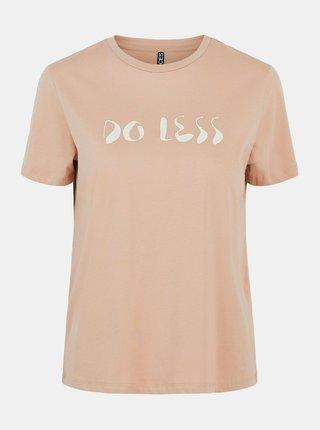 Hnedé tričko s potlačou Pieces Liwy
