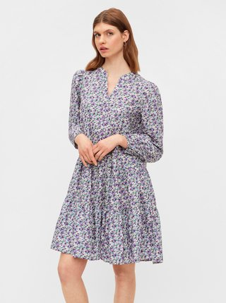 Fialové květované šaty Pieces Mikka