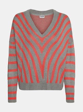 Šedo-červený pruhovaný sveter Noisy May Astot