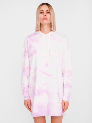 Růžovo-bílé vzorované mikinové šaty Noisy May Ilma