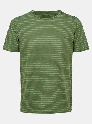 Zelené pruhované tričko Selected Homme Morgan