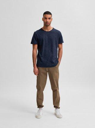 Tmavomodré pruhované tričko Selected Homme Morgan