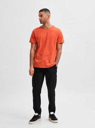 Oranžové pruhované tričko Selected Homme Morgan