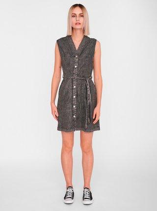 Tmavošedé rifľové košeľové šaty Noisy May Verita