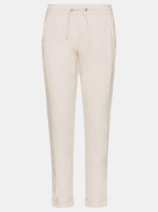 Krémové dámské lněné kalhoty SAM 73