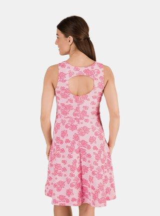 Růžové dámské květované šaty s průstřihem na zádech SAM 73