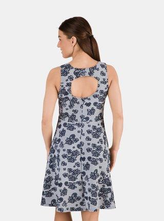 Modré dámské květované šaty s průstřihem na zádech SAM 73