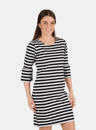 Bílo-černé dámské pruhované šaty SAM 73