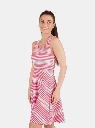 Růžové dámské pruhované šaty s průstřihem na zádech SAM 73