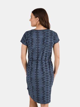 Tmavě modré dámské vzorované šaty se zavazováním SAM 73
