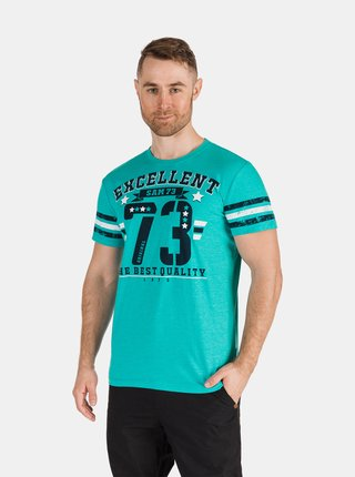 Tyrkysové pánske tričko s potlačou SAM 73
