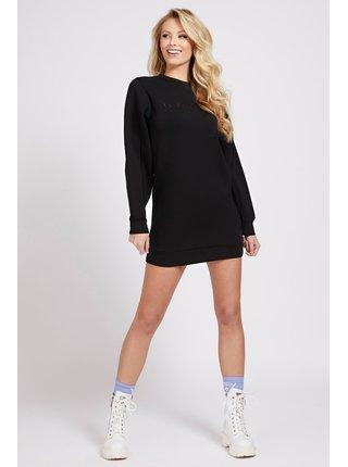 Guess čierne mikinové šaty Front Logo