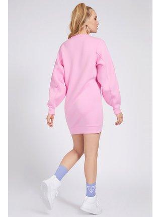 Guess ružové mikinové šaty Front Logo