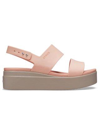 Crocs pudrové sandály na platformě Brooklyn Low Wedge W Pale Blush